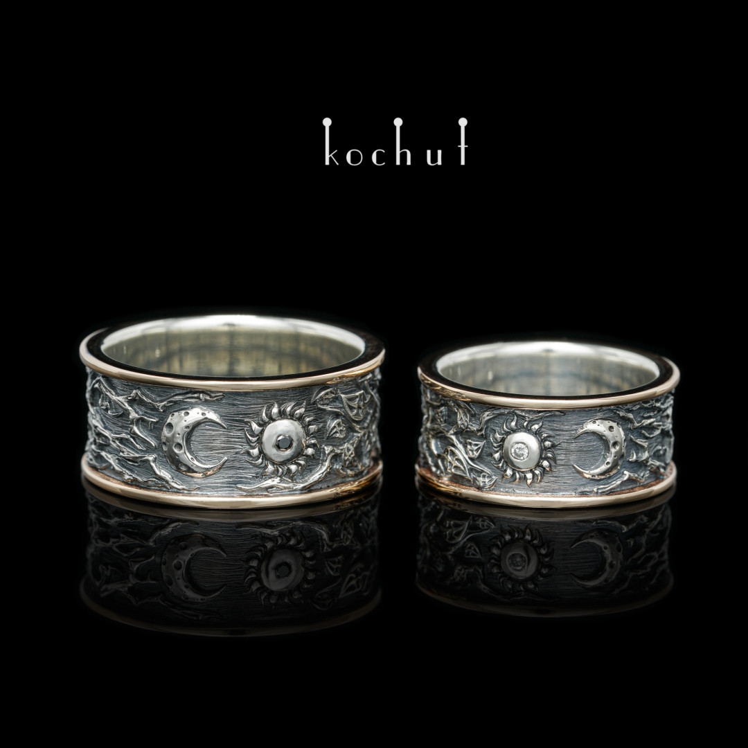 Wedding rings «Lovers». Red gold, silver, diamonds, oxidation