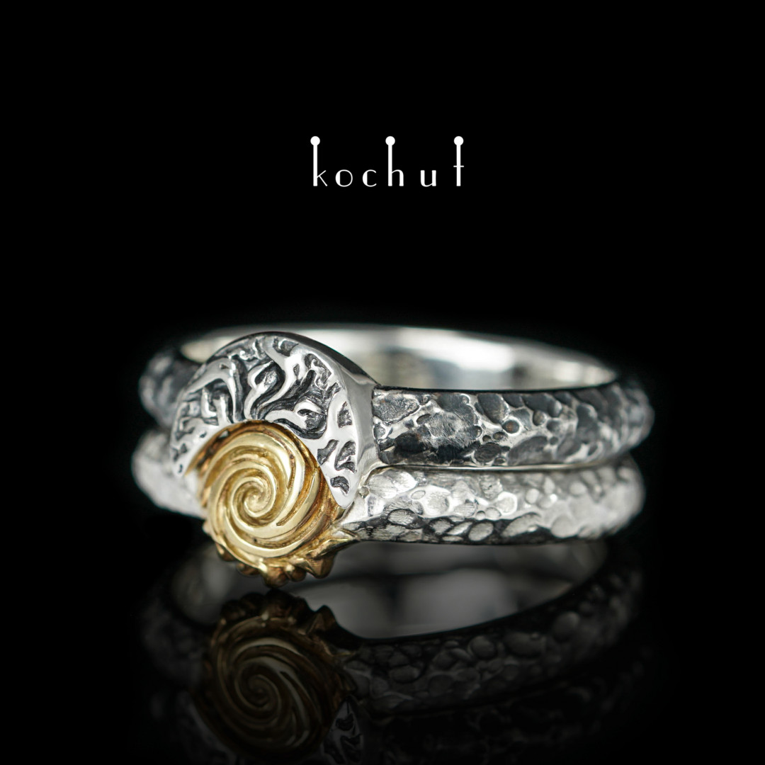 Heavenly Fire — silver double ring with gilding