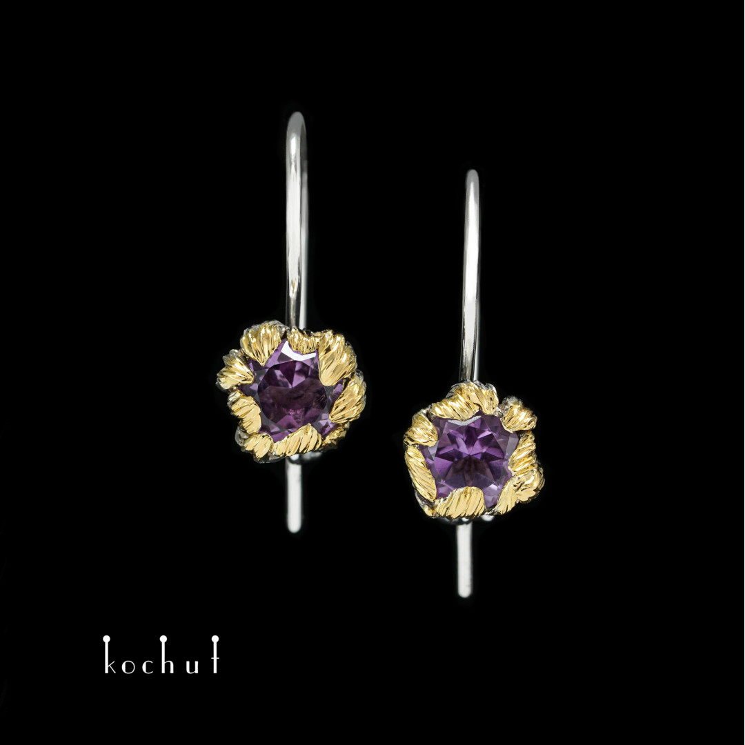 Earrings with a French castle «Peony». Silver, amethysts, white rhodium, gilding