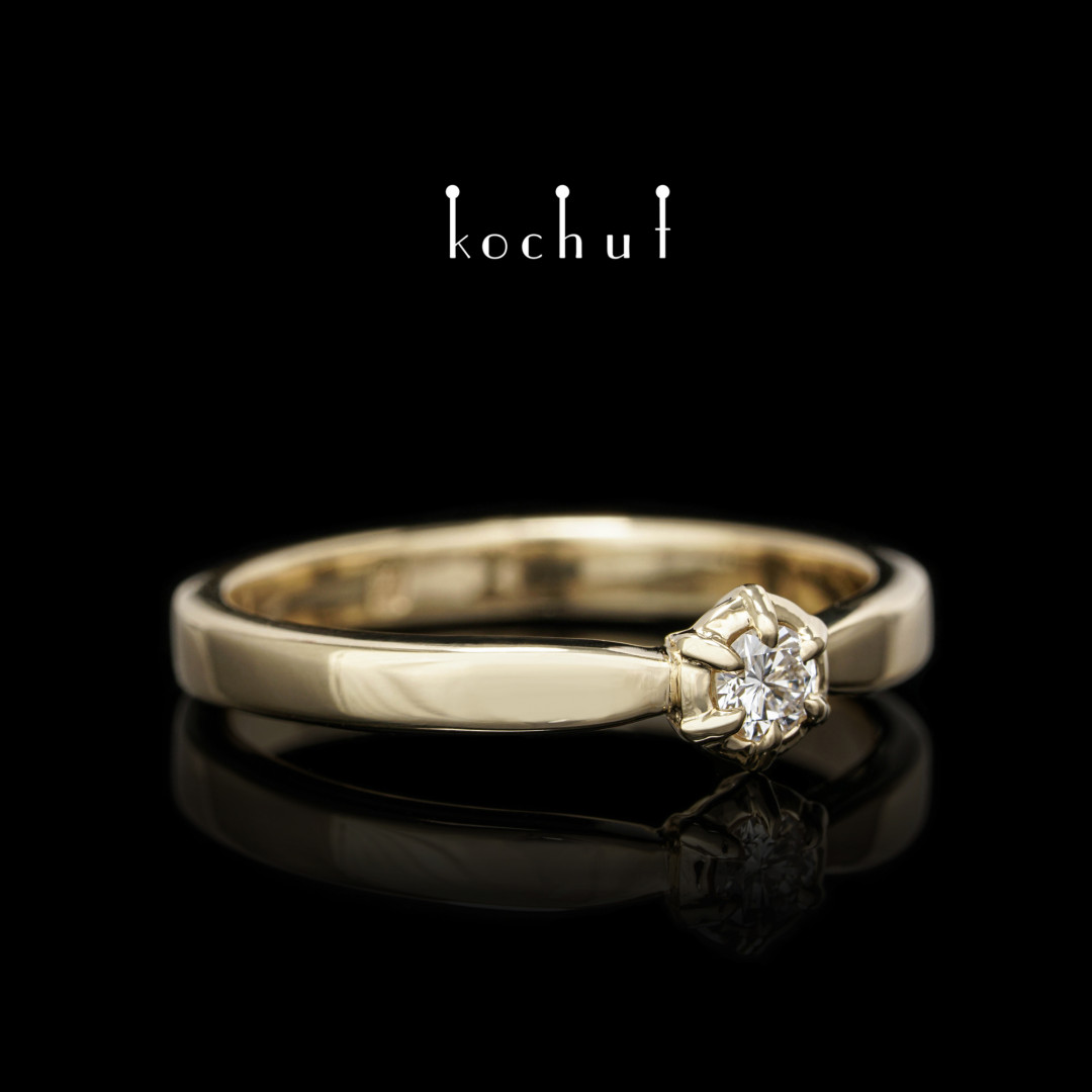 New Star —yellow gold engagement ring with a diamond