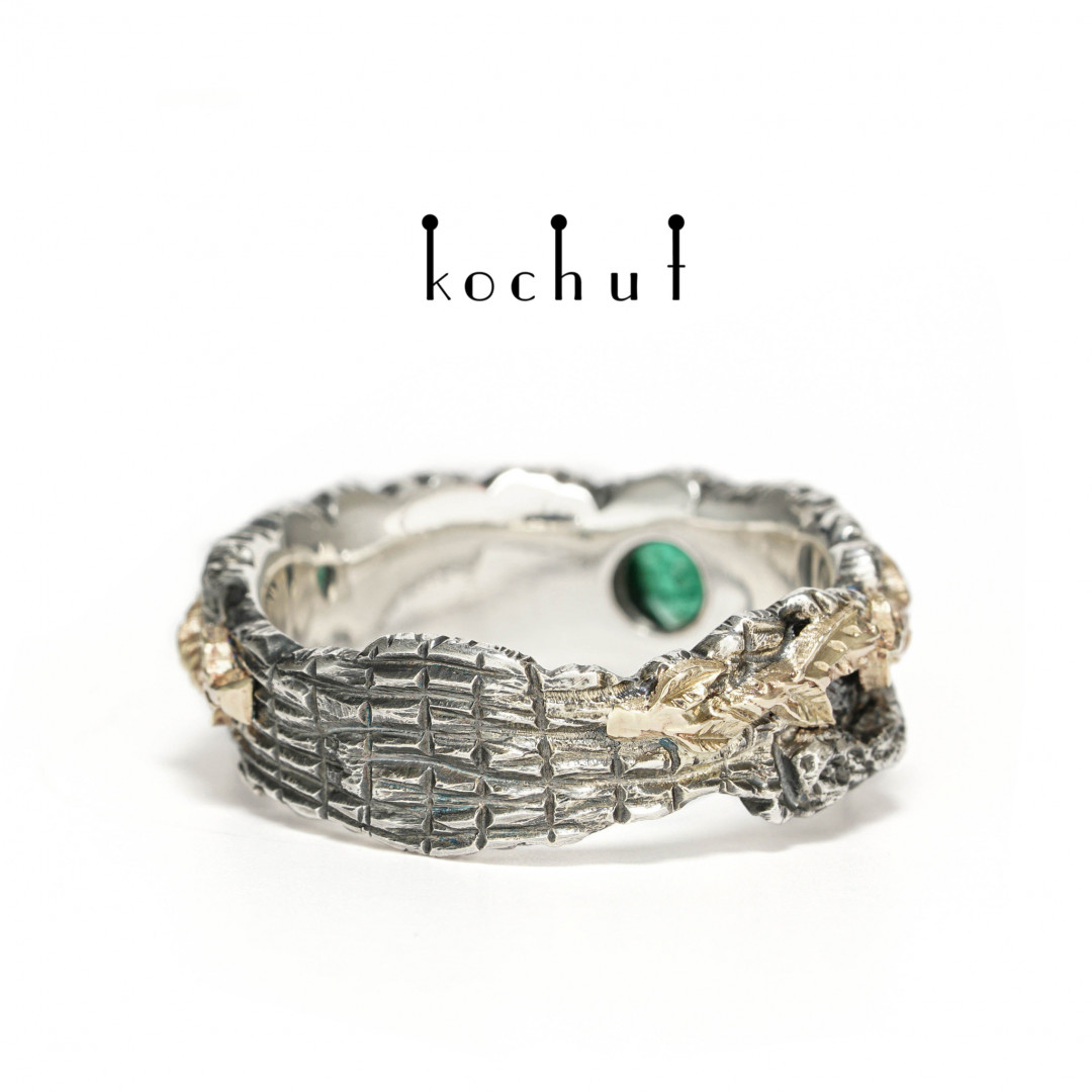 Power of Life — silver emerald ring with yellow gold
