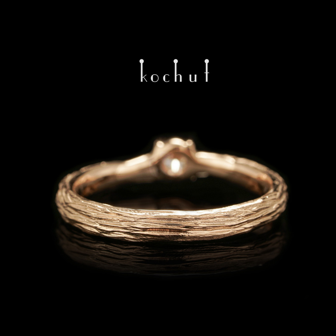 Fragile twig — red gold engagement ring with diamond