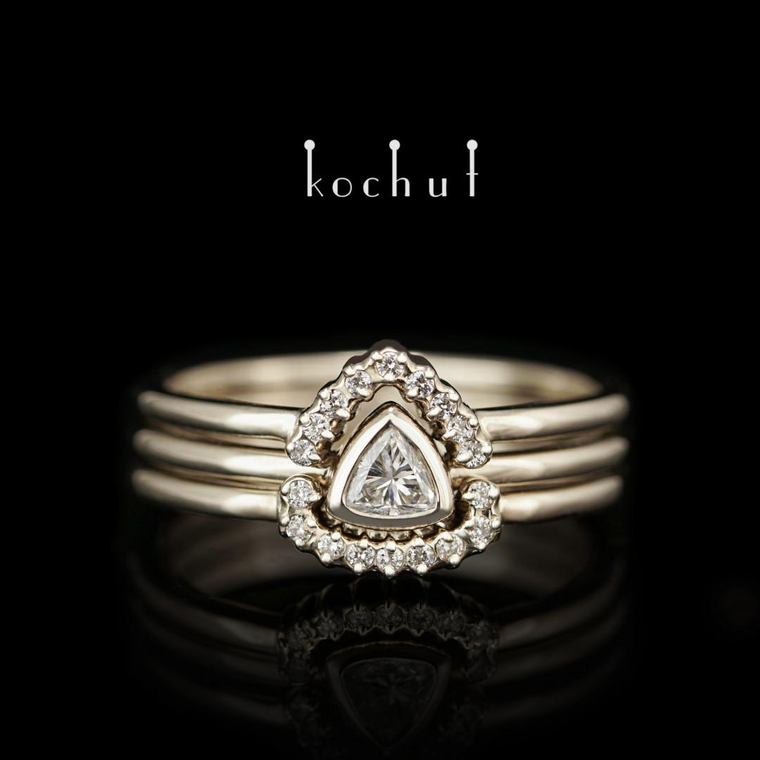 Engagement ring «Meridian». White gold, diamonds