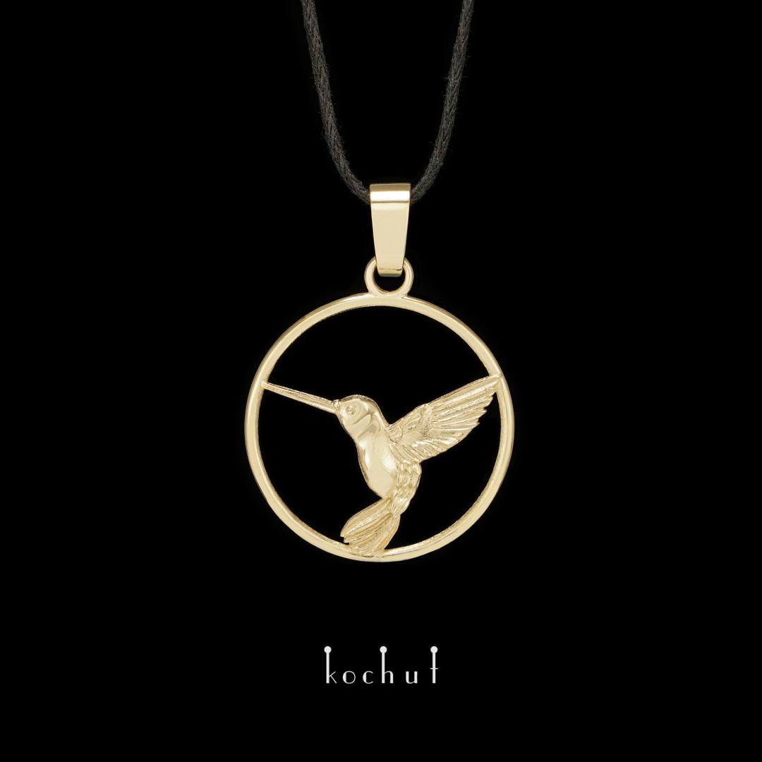 Pendant «Hummingbird». Yellow gold